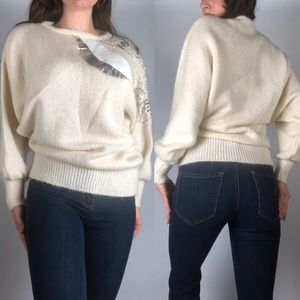 Vintage Ivory and Silver Beaded Sequin Sweater